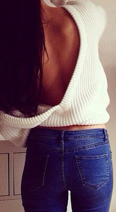 White Plain Off Shoulder Backless Long Sleeve Loose-fitting Sexy Fashion Acrylic Sweater