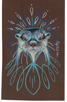 I want my tattoo to be of an otter facing forward like the wolf spirit tattoo Anthony Washington did, but I'm not sure if it looks a little odd or not? Otter Tattoo, Otter Love, Animal Totems, Indigenous Art, Art Graphique, Wildlife Art, Spirit Animal, Wolf Spirit, Otters