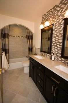 Bathroom Remodel | Instead of black and white tile behind the mirror, just white wall or grey. Accents in pink for the girls.