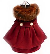 Burgundy+Wool+Fur+Collar+Harness+Dog+Coat+&+Leash