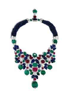 Cartier diamond, emerald, ruby and sapphire tutti frutti necklace, Art Deco Classicism by nadine