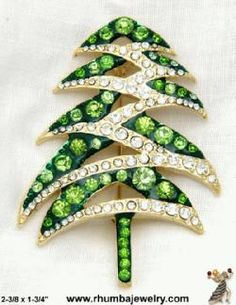 Christmas Tree Pin: Rhinestone Christmas Tree Pin Modernist