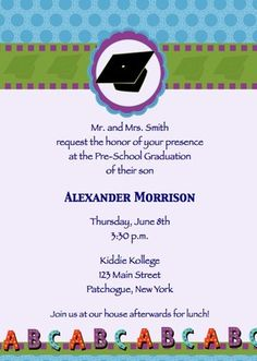 7 best graduation invitations images on pinterest graduation childrens pre schoolnursery school graduation hat abc invitations announcement filmwisefo