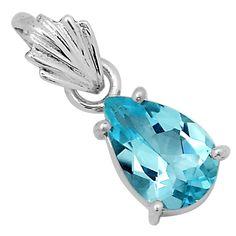 Blue Topaz 925 Sterling Silver Pendant Jewelry 5784P