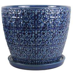 Lees pottery 9 in cubelinx ceramic planter ceramic planters dia blue ceramic mediterranean bell pot cr11403s 120a the home workwithnaturefo