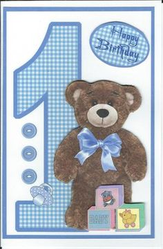 Birthday bear boy 1 year old on Craftsuprint designed by Carol Dunne - made by Erma Thompson - I printed the card topper and accessory items on white cardstock. Cut out the bear and block images and mounted them on the card with the foam pads to give dimension. Then mounted the card on another sheet of white cardstock with a birthday message inside. - Now available for download!