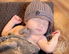 Newborn Boy Hat Baby Crochet Hat Baby Bow Tie by BabyGraceHats