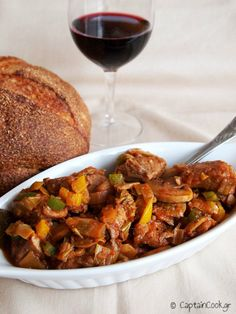 It All Tastes Greek To Me: Braised Pork with Leeks and Mushrooms Greek Recipes, Wine Recipes, Greek Cooking, Braised Pork, Pork Dishes, Mediterranean Recipes, Soups And Stews, Stuffed Mushrooms, Favorite Recipes