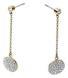 Michael Kors NWT Michael Kors Pave Disc Drop Gold Tone Earrings