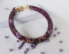 Bead Crochet Necklace Beaded Necklace Seed Bead Crochet Necklace Jewelry Necklace in Victorian Style Necklace with flowers Wine Plum Gold by Dianabiser on Etsy