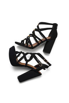 Tendência - Sandálias - Tiras - Black - Heels - Ref. 16-15303 | 16-10601