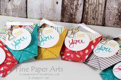 Stampin up - Origami Tüten, Origami bags, Designerpapier im Block Bunte Party, Stempelset Work of Art, Stampset Work of Art, Cherry on Top Designer Series Paper Stack - Fine Paper Arts
