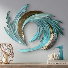 Modern and abstract, this gorgeous metal wall art sculpture shows the tumultuous beauty of sea and sand tumbling together with the tides. wide x high x deep. Hand-made metal wall art. Style # at Lamps Plus. Abstract Metal Wall Art, Metal Tree Wall Art, Metal Wall Sculpture, Metal Wall Decor, Wall Sculptures, Sculpture Art, Abstract Sculpture, Sculpture Ideas, Painting Metal