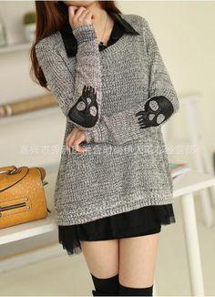 East-Knitting-XL-044-women-casual-sweaters-skulls-pattern-pullovers-with-chiffon-shirt-2013-winter-new.jpg (435×602)