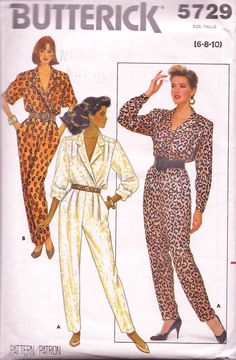 Butterick 5729 Women's 80s Jumpsuit Sewing Pattern Size 6 8 10 Bust 30.5 to 32.5 by Denisecraft on Etsy