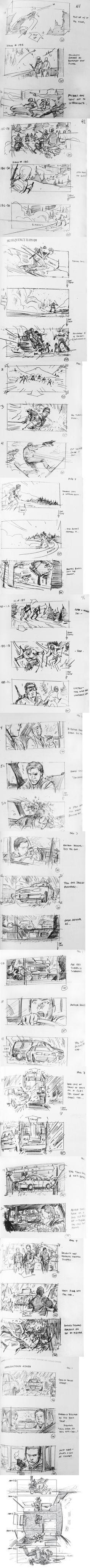 Gabriel Hardman Drawings Board Chris Nolan Inception    *Storyboard