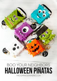 Boo your neighbors these creative, easy to make Mini Halloween Piñatas created from cracker boxes and tissue paper! Halloween Decorations For Kids, Halloween Crafts For Kids, Halloween Party Decor, Halloween House, Halloween Projects, Fall Crafts, Holiday Crafts, Halloween Bingo, Cute Halloween