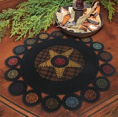 PG - Scrappy Primitive Pennies Table Mat - Wool Applique KIT and PATTERN