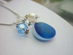 Sea Glass Necklace Blue English