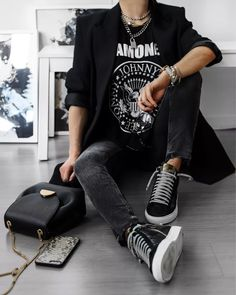 Rock Outfits, Edgy Outfits, Grunge Outfits, Cute Casual Outfits, Fall Outfits, Fashion Outfits, Black Outfit Edgy, Rock Star Outfit, Fashion Mode