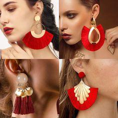 Fashion Bohemian Big Tassel Dangle Drop Earrings for Women Fringe Earrings, Fashion Earrings, Women's Earrings, Statement Earrings, Red Wedding, Shape Patterns, Bohemian Style, Bohemian Fashion, Jewelry Shop