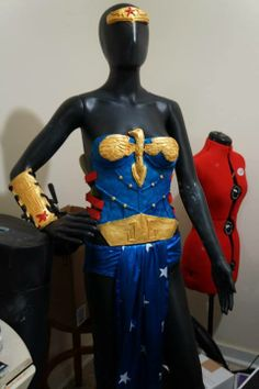 the bottoms are part of a wonder woman costume you can easily buy in stores, but the rest headband bracers armor and accessories are crafted from RD 407 Latex