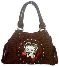 X Betty Boop Synthetic Leather Handbag Brown