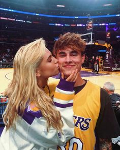 YouTuber Kian Lawley and Meredith Mickelson at the Los Angeles Lakers game in 2017...