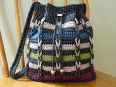 Drawstring Shoulder Bag Gray Blue Green by kathyscrochetcloset
