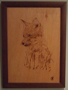 I made this pyrograph about 2 years ago. I drew it from a photo I took of him watching his mum hunting.