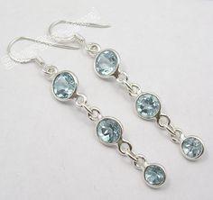 .925 Silver BLUE TOPAZ SPARKLING Dangle Earrings 5.5CM #Dangle
