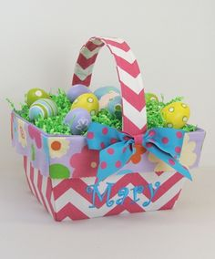 Easter Basket - Hot Pink Zig Zag with Flowers