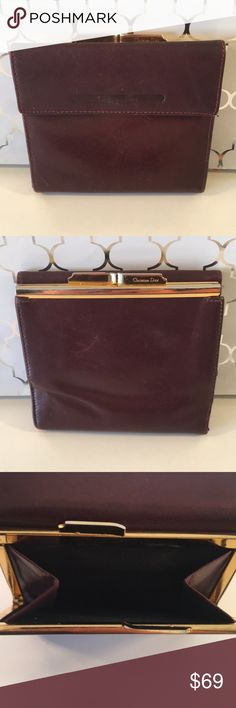⭐️CHRISTIAN DIOR VINTAGE WALLET 💯AUTHENTIC CHRISTIAN DIOR VINTAGE 1970's WALLET 100% AUTHENTIC. HIGH END LUXURY AND STYLE. PURCHASED BY MY MOTHER AT THE  PARIS CHRISTIAN DIOR BOUTIQUE IN THE MID 1970's . SO BEAUTIFUL. IT HAS A CHANGE PURSE SECTION, LARGE PAPER MONEY SECTION . 2 ROOMY POCKETS AND 10 CARD SLOTS. IT IS BROWN WITH RED UNDERTONES. HAS USUAL WEAR FOR A VINTAGE ITEM BUT STILL HAS MANY YEARS OF USE LEFT IN IT. WHEN CLOSED IT MEASURES 4.75 INCHES WIDE BY 4.25 INCHES TALL. Christian…