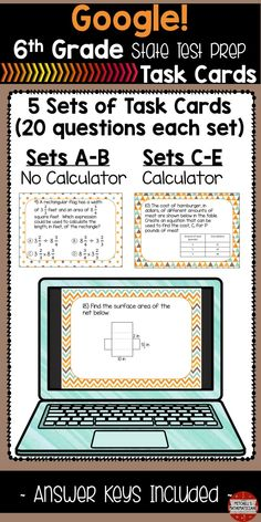 This NO PREP Google product is a great way to review for the state tests. There are 5 sets of task cards for you with 20 questions in each set. 100 questions to prepare your students for their state test. Two of the sets are non-calculator and the other three allow calculator use. These task cards cover a wide variety of the common core standards. I have included text boxes on the Google slides for the students to type their answers. I have also included an answer sheet that you can print…