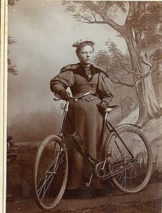 With the puffy sleeves you can tell this dour looking cyclist was a contemporary of Londonderry via Flickr