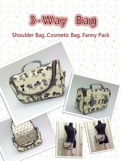 3-way bag pattern.  PDF download from Etsy.  I just LOVE this design and how flexible it is.  Makes a great cosmetics and toiletry bag for vacations, but I also made one as the perfect camera bag for my DSLR. Recommended.