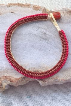 Tubular herringbone bracelet with bead and loop clasp ~ Seed Bead Tutorials