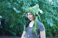 Felted hoodie with goblin ears Yoda hat by zavesfelt on Etsy