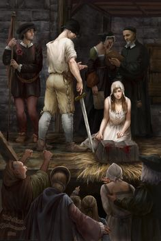 Fan Art of The execution of Jane Grey for fans of Tudor History.