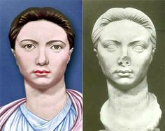 (Left) Restored portrait of Vipsania Agrippina (died AD first wife of Tiberius, from a monument in Leptis Magna, Libya Ancient Rome, Ancient Greece, Ancient Art, Ancient History, Roman Sculpture, Roman History, Futuristic Art, Effigy, Ancient Civilizations