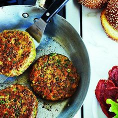Chickpea falafel burgers. I want to find a really good veggie burger recipes for when my veggie friends come for summer BBQs!