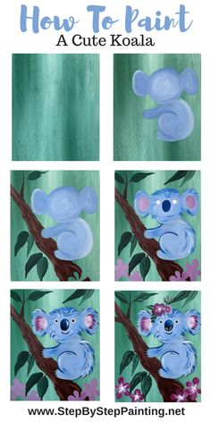 Koala Painting Step By Step - Step By Step Painting Easy Canvas Painting, Simple Acrylic Paintings, Acrylic Painting Tutorials, Diy Canvas, Painting For Kids, Diy Painting, Canvas Art, Canvas Crafts, Easy Paintings