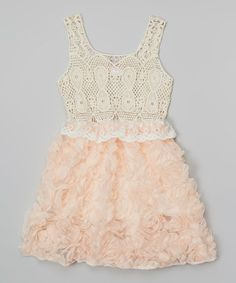 Take a look at this Peach & Ivory Rosette Crochet Dress - Toddler & Girls on zulily today!