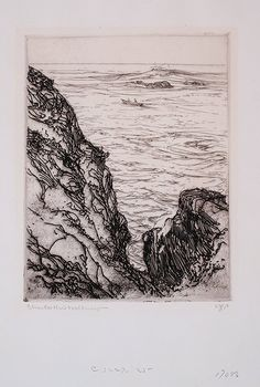 """Offshore, Ogunquit,"" Charles H. Woodbury, etching, 8 5/8 x 6 7/8"", private collection."