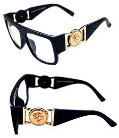 7b5e3410d24a 424 Medusa Gold Metal Logo Coin Flat Top Clear Lens Eye Glasses Black Hip  Hop
