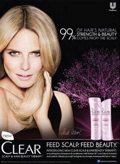 Clear HairCare Advertising with Heidi Klum Beauty Ad, Beauty Makeup, Hair Beauty, World Hair, Heidi Klum, Photo Look, Natural Hair Styles, Hair Care, Shampoo