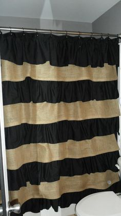 shower curtain made with burlap.