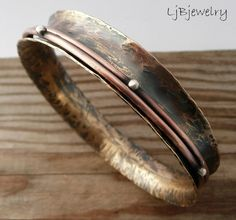 Spinner Bangle, Concave, Red Brass Bangle, Anticlastic Bangle, Copper and Sterling Silver, Earthy Organic Style