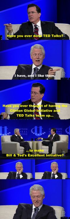 I Stephen Colbert & Bill Clinton Jon Stewart Stephen Colbert, Sarcasm Society, Funny Jokes, Hilarious, The Daily Show, Funny Happy, Ted Talks, Funny People, Really Funny