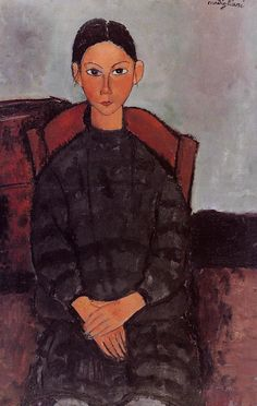 Young Girl in a Black Apron Amedeo Modigliani (1918) Private collection Painting - oil on canvas